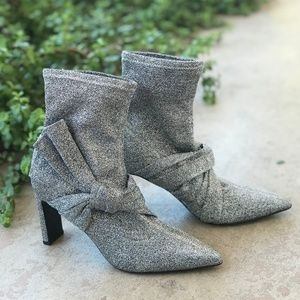 Sigerson Morrison Helin Knot Metallic Sock Booties